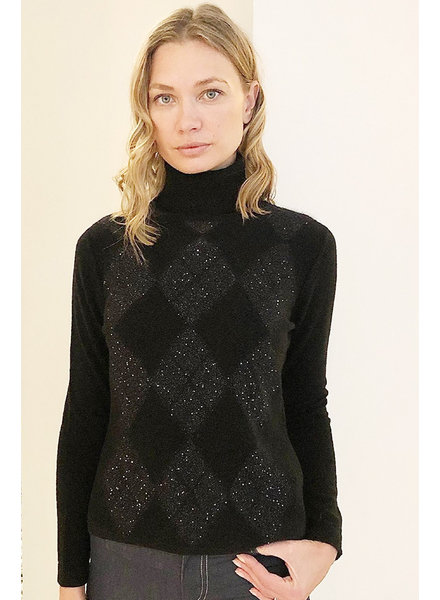 CASHMERE ROLL NECK WITH ARGYLE SEQUINS