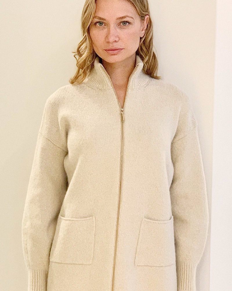 CASHMERE GOLD FOIL JACKET WITH ZIPPER: SAND