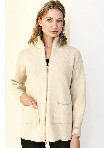 CASHMERE GOLD FOIL JACKET WITH ZIPPER
