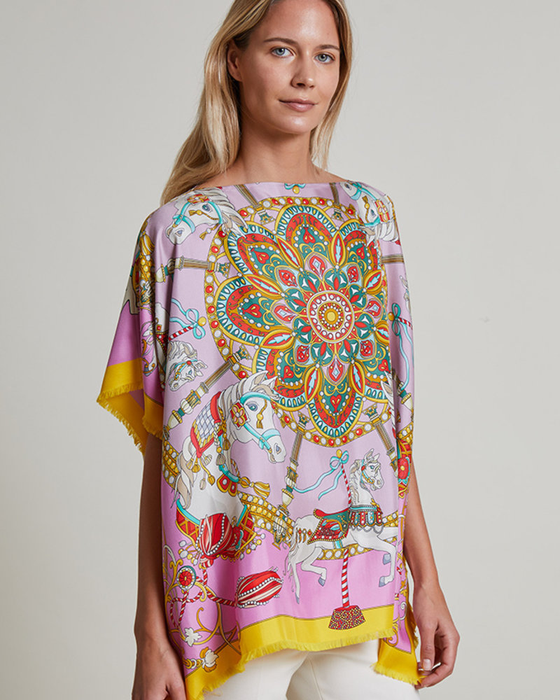 SILK SCARF PRINT REVERSIBLE TOP: CANDY