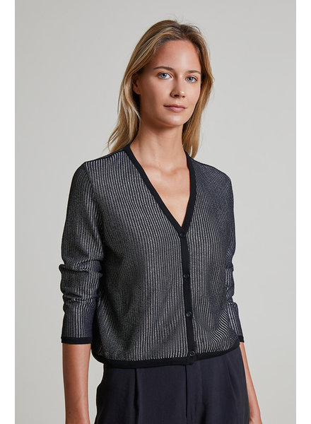 CASHMERE AND LUREX V-NECK CARDIGAN