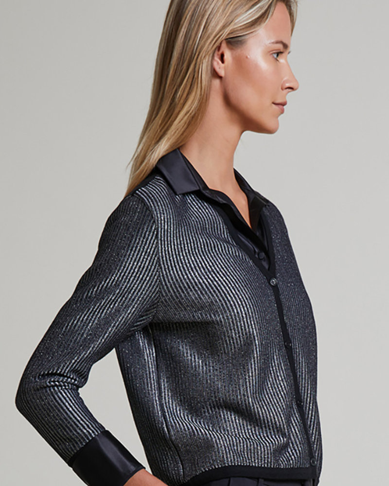 CASHMERE AND LUREX V-NECK CARDIGAN: BLACK