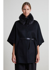 DOUBLE FACE CASHMERE CAPE WITH BELT