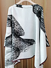 SILK SCARF PRINT REVERSIBLE TOP: SPARROW: GRAY