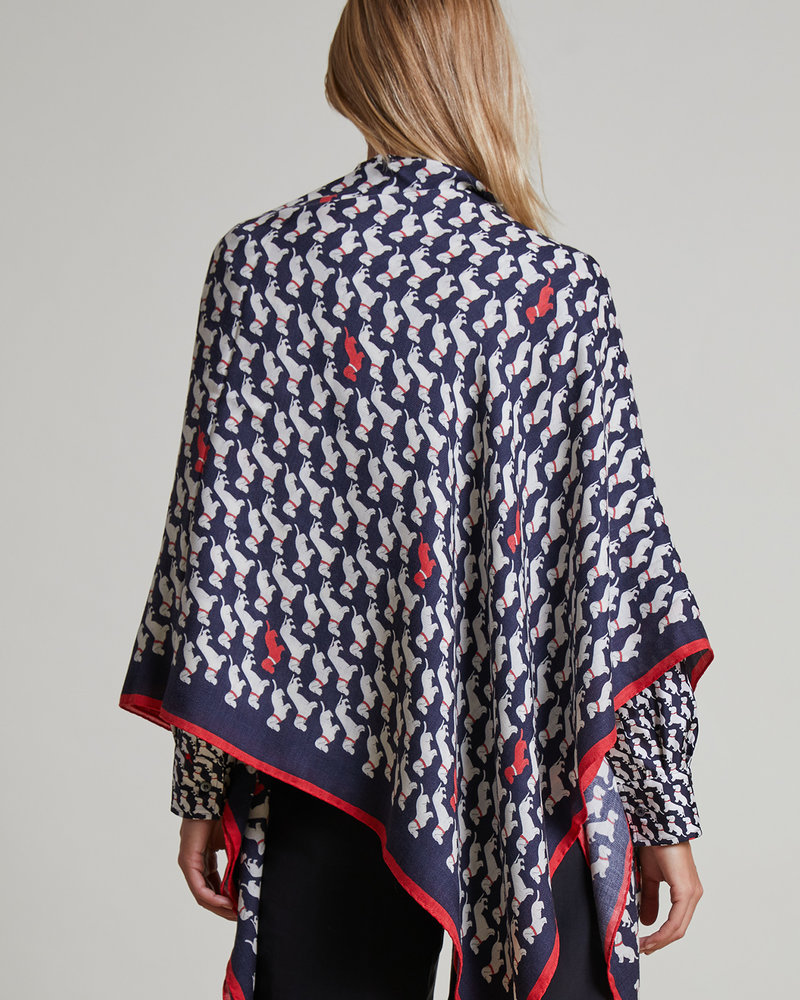 CASHMERE PRINTED SCARF: BASSETS: MIDNIGHT BLUE