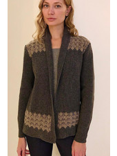CASHMERE TWO-TONES OPEN CARDIGAN WITH KNIT DETAILS
