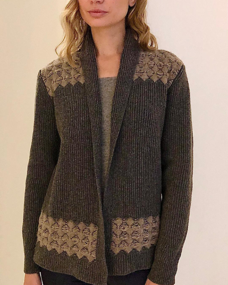 CASHMERE TWO-TONES OPEN CARDIGAN WITH KNIT DETAILS: ANTHRACITE-BEIGE