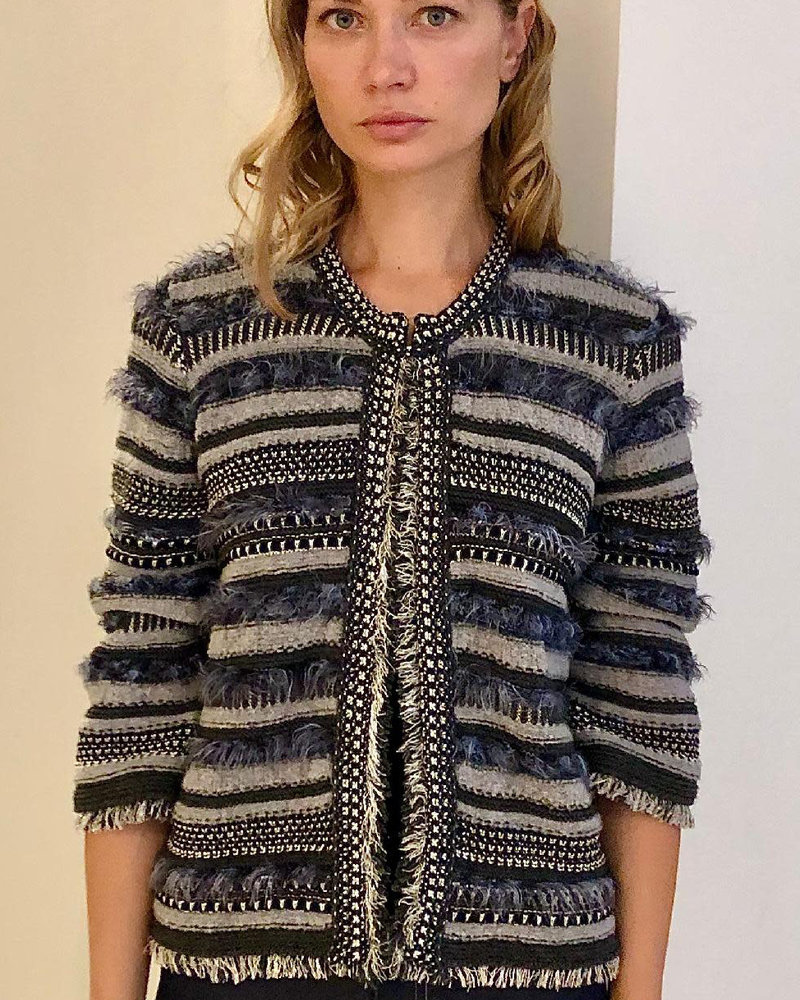 KNIT STRIPED JACKET WITH FRINGES: ANTHRACITE TONES