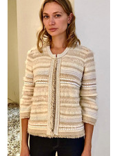 KNIT STRIPED JACKET WITH FRINGES