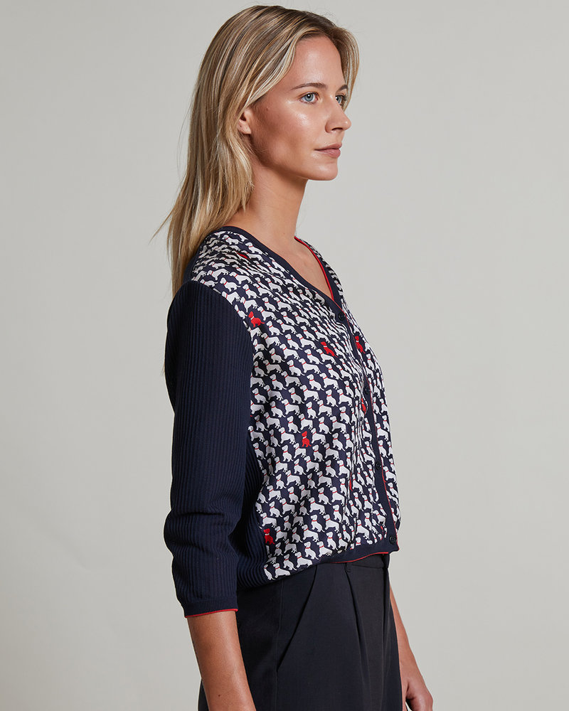 COTTON V-NECK CARDIGAN WITH PRINTED SILK FRONT: BASSETS MIDNIGHT BLUE-NAVY