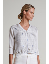 COTTON V-NECK CARDIGAN WITH PRINTED SILK FRONT