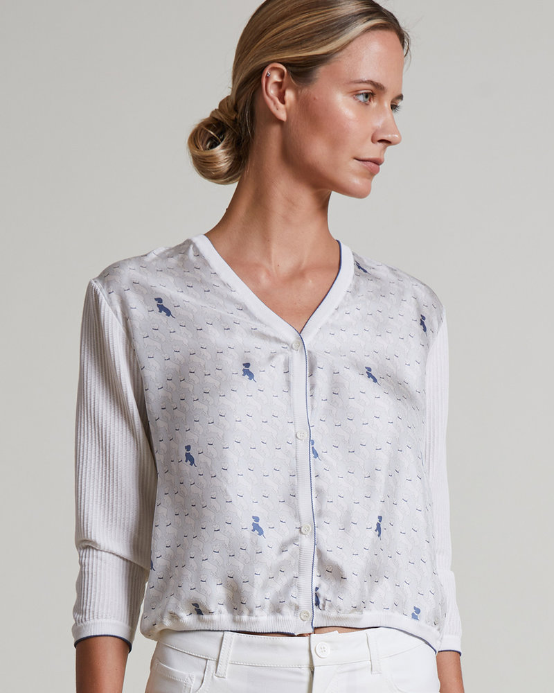 COTTON V-NECK CARDIGAN WITH PRINTED SILK FRONT: BASSETS LIGHT BLUE-WHITE