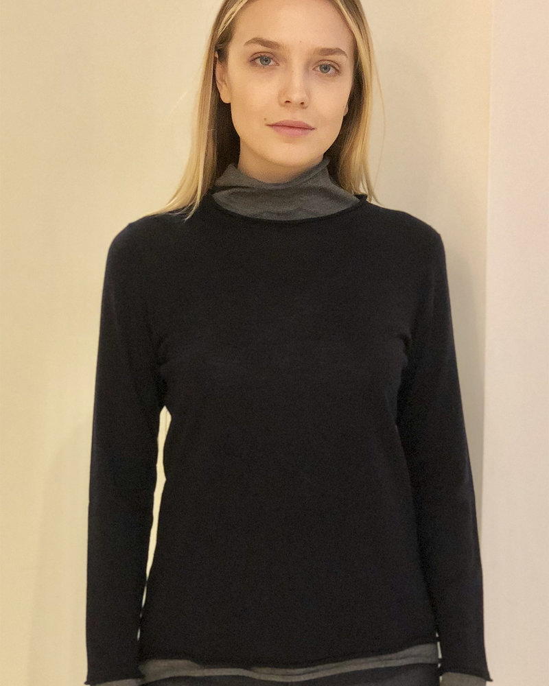 KNIT TWO-TONES SWEATER: NAVY-GRAY