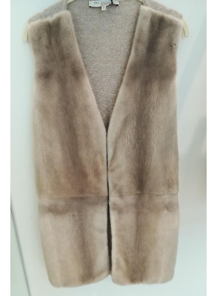 LONG MINK VEST WITH CASHMERE KNIT BACK