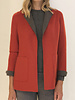 CASHMERE DOUBLE FACE REVERSIBLE JACKET: RED-ANTHRACITE
