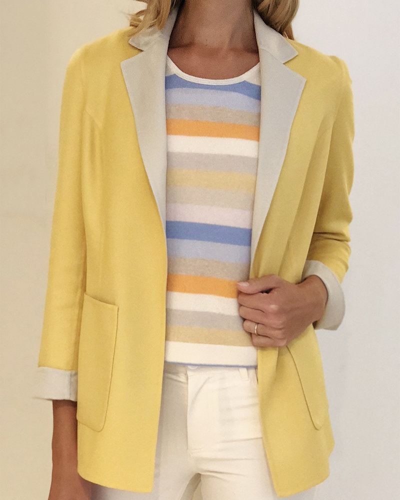 CASHMERE DOUBLE FACE REVERSIBLE JACKET: YELLOW-PEARL