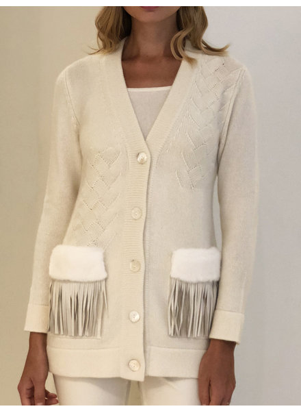 KNIT CASHMERE CARDIGAN WITH FUR AND FRINGES DETAILS ON POCKETS