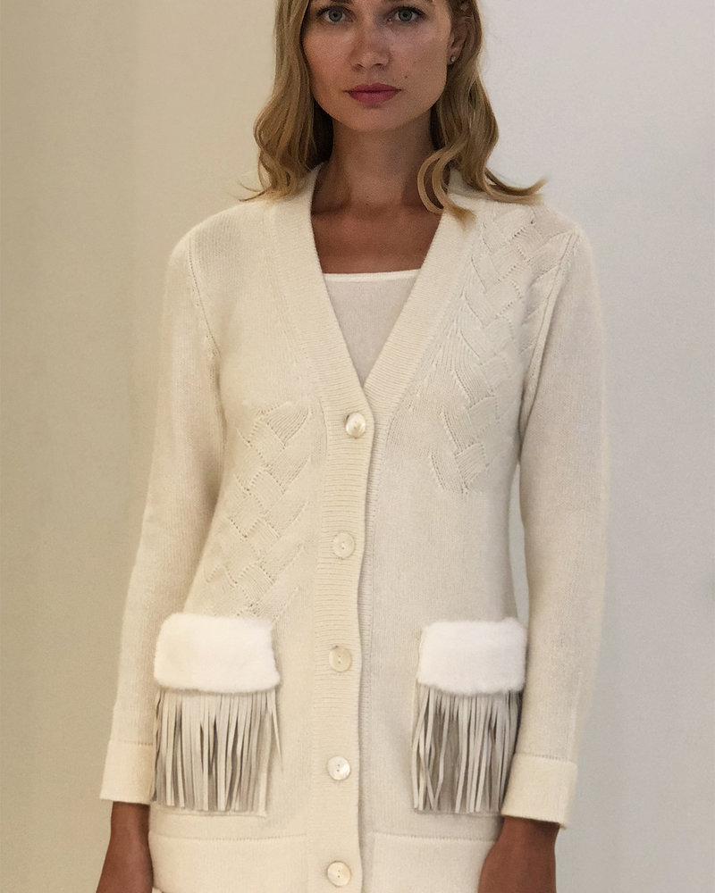 KNIT CASHMERE CARDIGAN WITH FUR AND FRINGES DETAILS ON POCKETS: IVORY