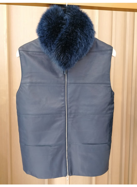 LEATHER VEST WITH FOX COLLAR AND CASHMERE BACK