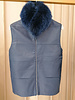 LEATHER VEST WITH FOX COLLAR AND CASHMERE BACK: NAVY