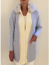 KNIT CASHMERE COAT WITH FOX COLLAR