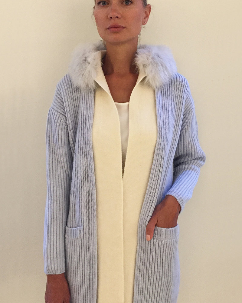 KNIT CASHMERE COAT WITH FOX COLLAR: LIGHT BLUE