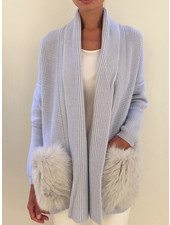 KNIT CASHMERE COAT WITH FOX POCKETS