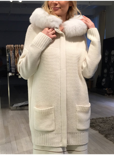 KNIT CASHMERE COAT WITH FOX TRIM HOOD