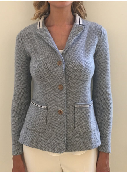 KNIT 2 TONE 3 BUTTON CASHMERE BLAZER
