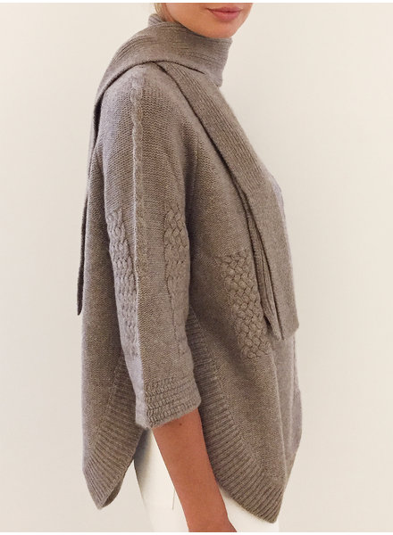 INTRICATE CASHMERE KNIT SWEATER WITH SCARF