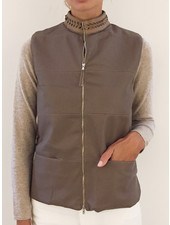 LEATHER VEST WITH CASHMERE BACK