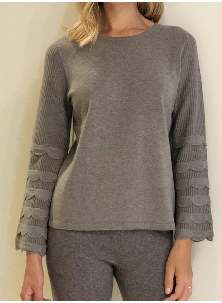CASHMERE CREWNECK SWEATER WITH RUFFLES