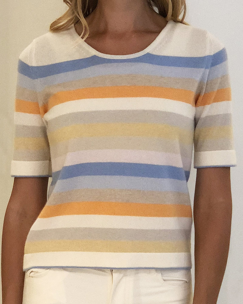 CASHMERE MIDDLE SLEEVES CREWNECK TOP: PASTEL