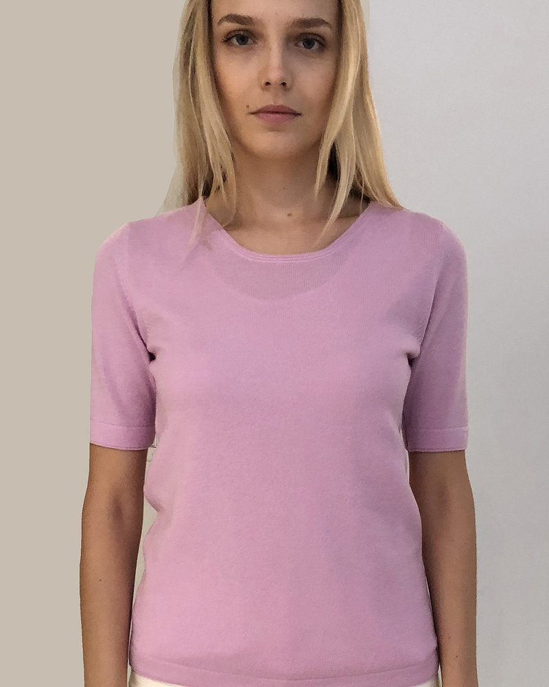 CASHMERE MIDDLE SLEEVES CREWNECK TOP: PINK