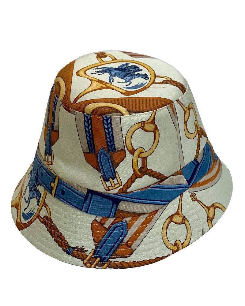 PRINTED SILK BUCKET HAT: BEIGE