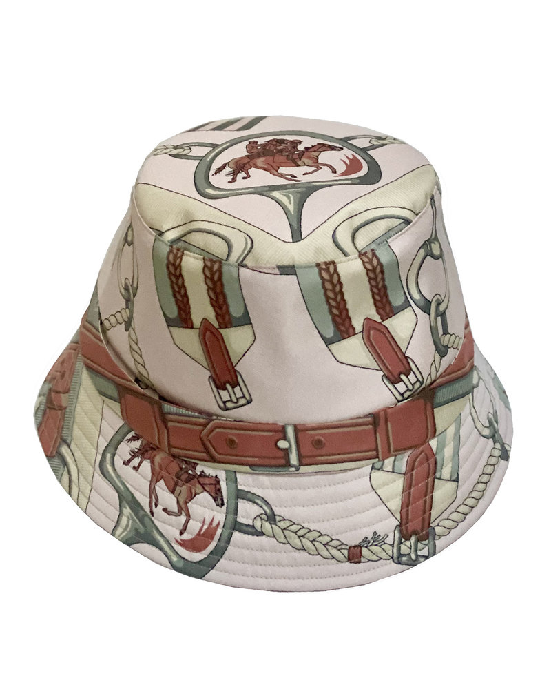 PRINTED SILK BUCKET HAT: PINK