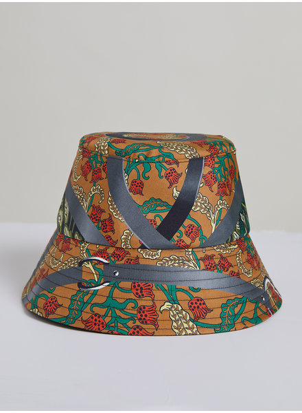 PRINTED SILK BUCKET HAT