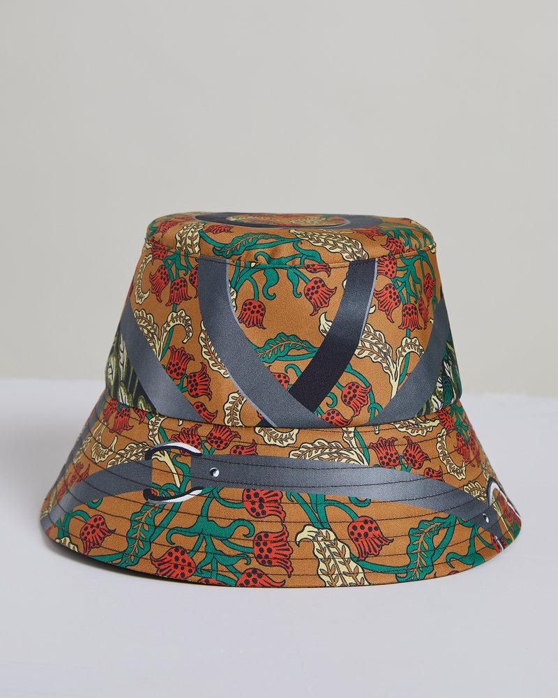 PRINTED SILK BUCKET HAT: AMAZONIA: ROSE