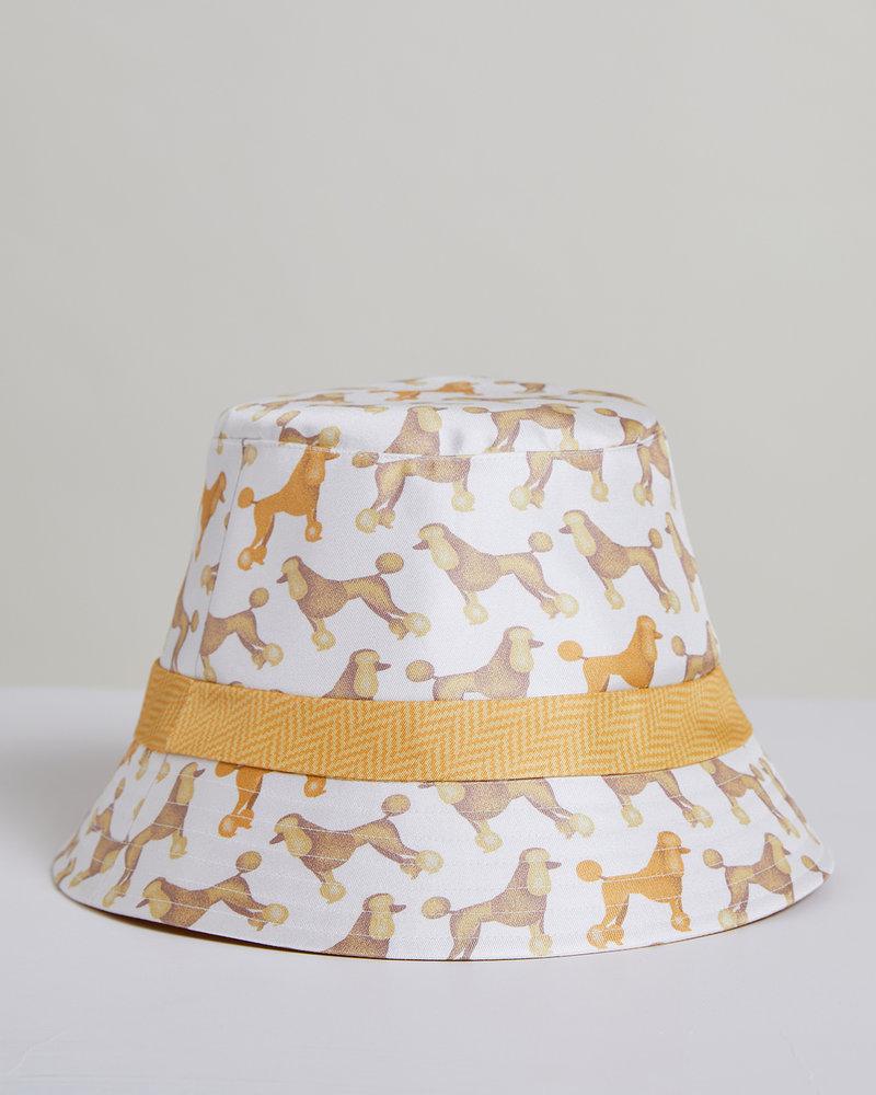 PRINTED SILK BUCKET HAT: POODLE: IVORY