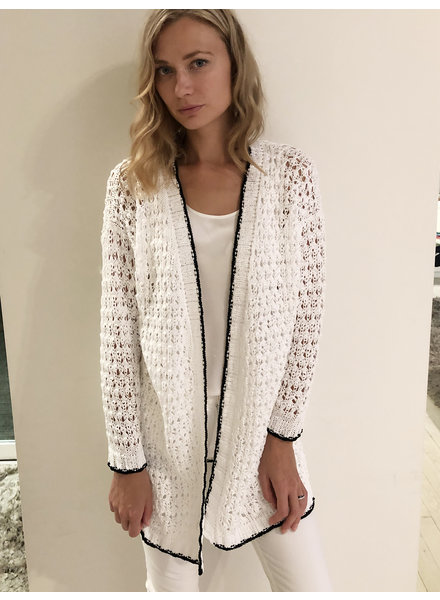OPEN WEAVE COTTON LONG CARDIGAN