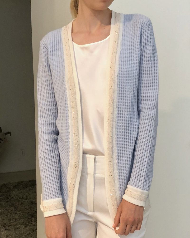 CASHMERE OPEN CARDIGAN WITH SEQUINS: LIGHT BLUE-IVORY