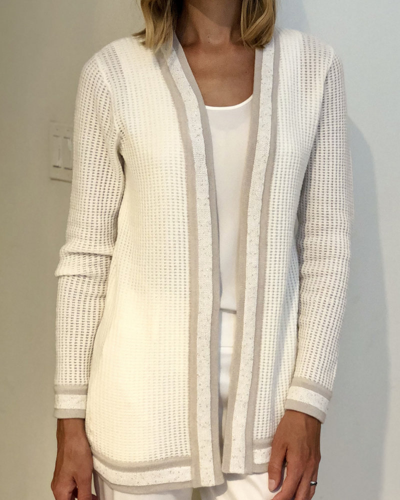 CASHMERE OPEN CARDIGAN WITH SEQUINS: IVORY-SAND