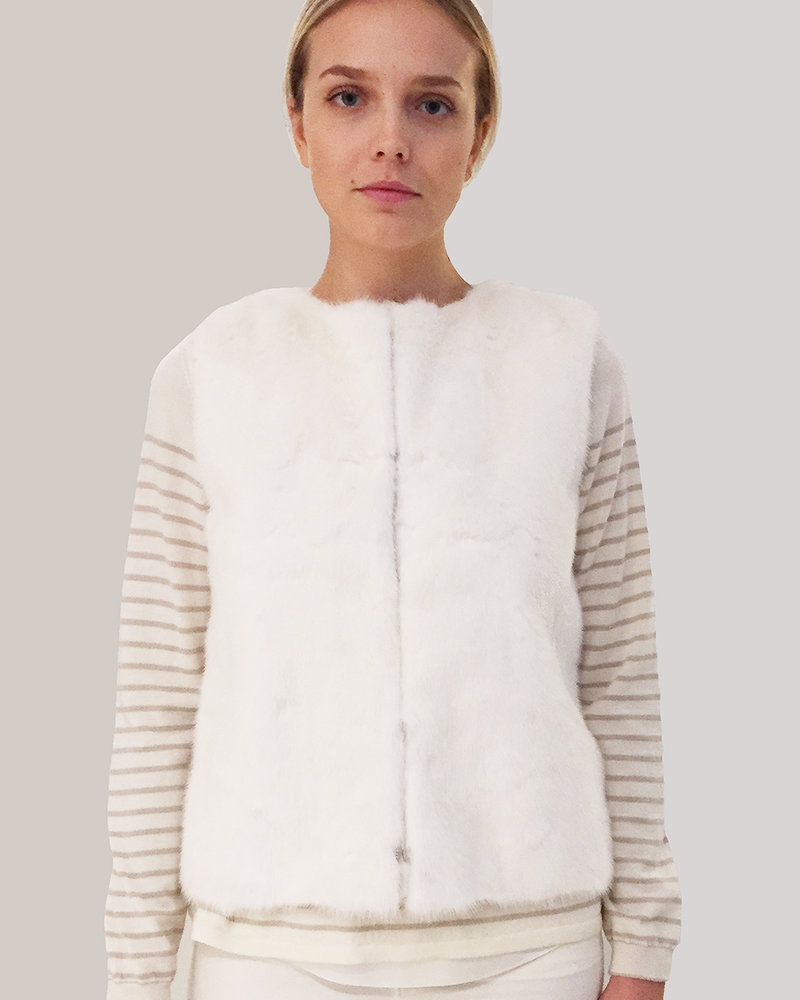 MINK FRONT VEST WITH CASHMERE RIB BACK: WHITE