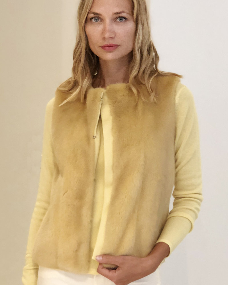 MINK FRONT VEST WITH CASHMERE RIB BACK: YELLOW