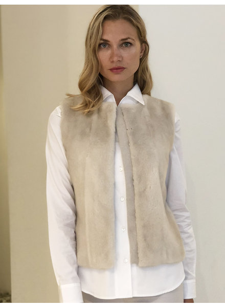 MINK FRONT VEST WITH CASHMERE RIB BACK