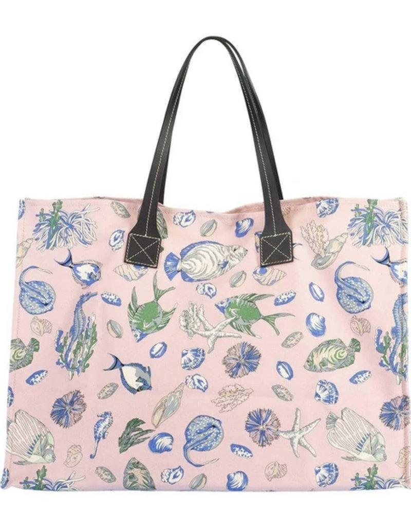 PRINTED CANVAS BEACH BAG: FISH: PINK