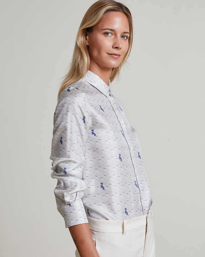SILK PRINTED SHIRT: BASSETS: LIGHT BLUE