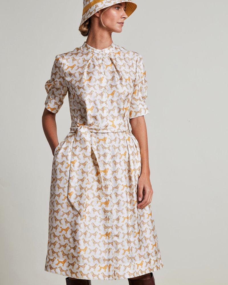 SILK PRINTED DRESS: POODLE: IVORY