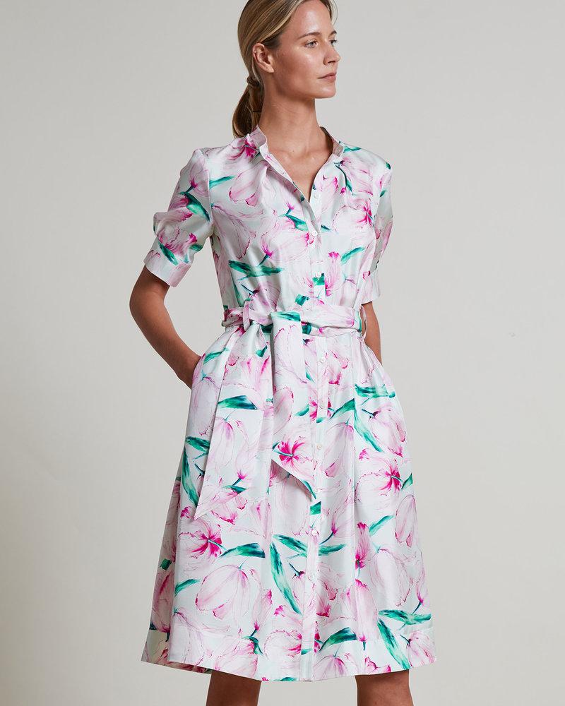 SILK PRINTED DRESS: TULIP: PINK