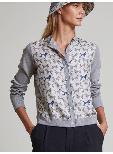 PRINTED SILK-COTTON KNIT CARDIGAN